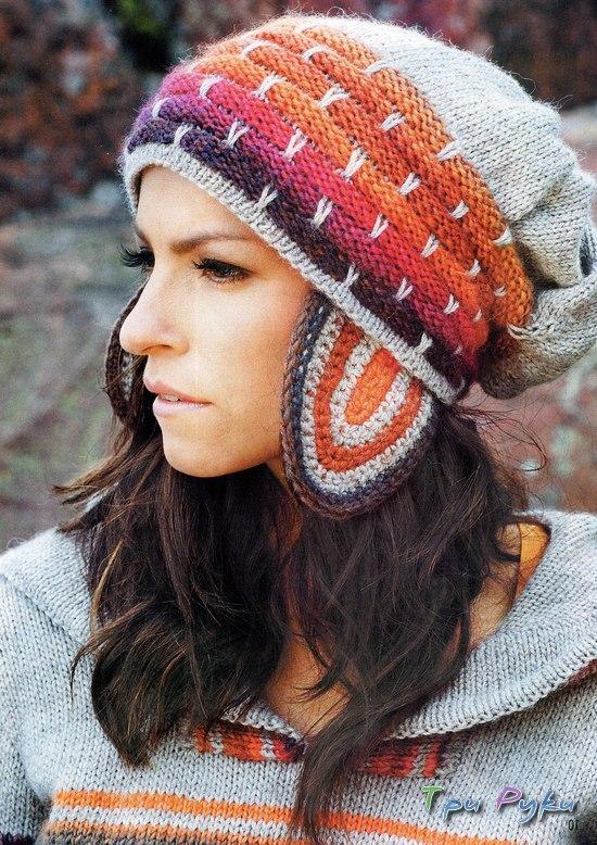 Стиль вязанный шапки.