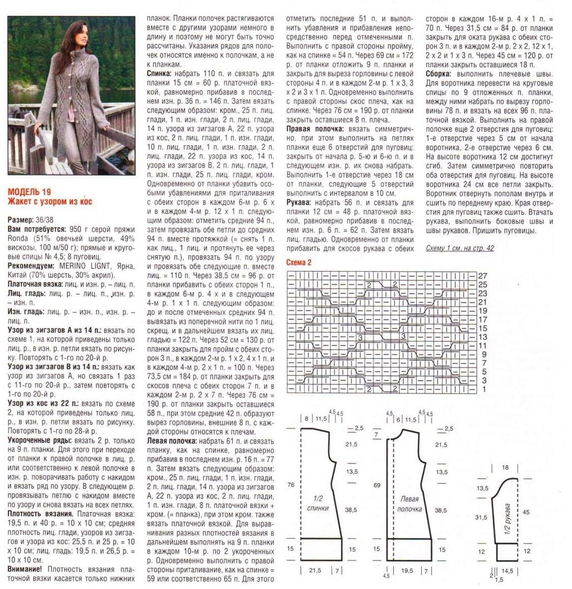 Вязание спицами пальто и кардиган схемы и описание