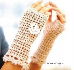 Митенки филейное вязание