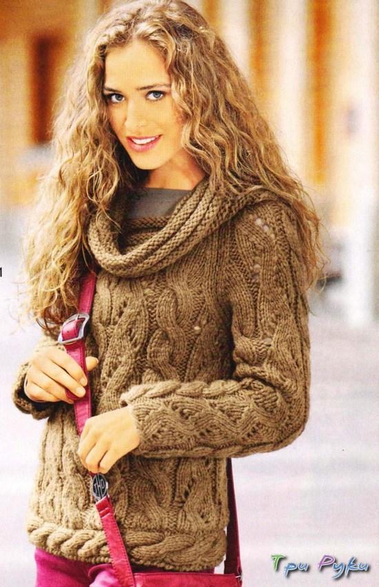 Пуловер в ажурных полосах