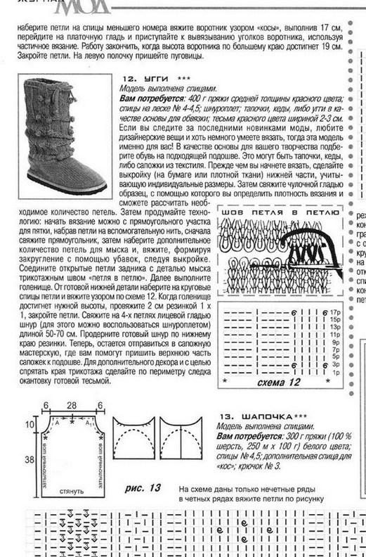 Схема вязание сапожек спицами