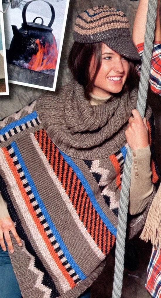 кепка и пончо вязаное спицами