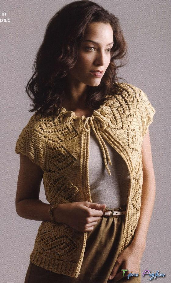 Вязание безрукавки Lace Doily Cocoon Vest.