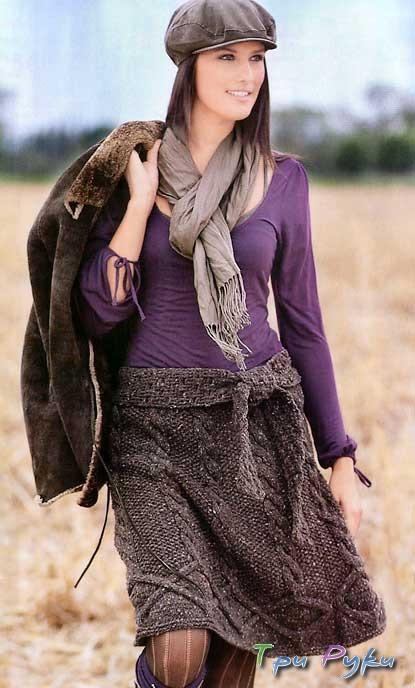 Вязание спицами - красивая юбка