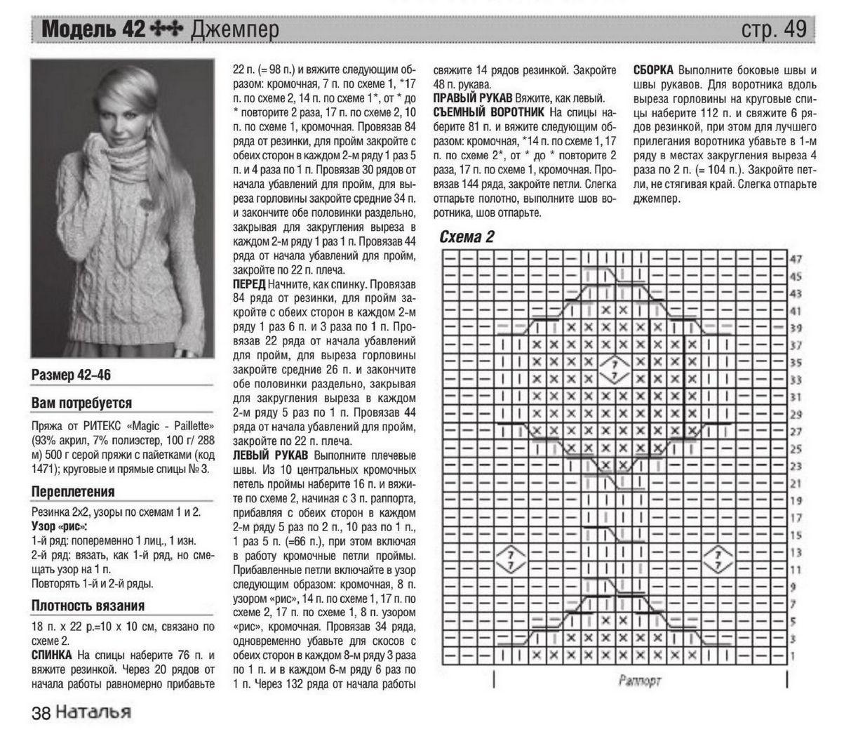 Вязание спицами свитер женский с описанием и схемой 291