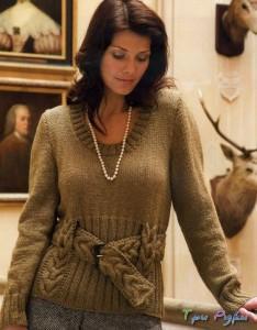 Пуловер с вязаным поясом