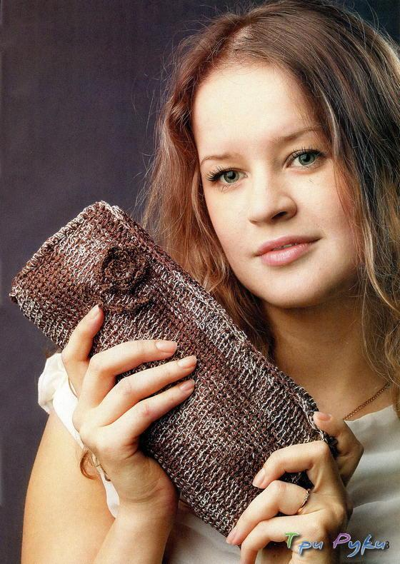 Сумочка - косметичка тунисское вязание