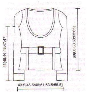 Пуловер с вязаным поясом выкройка