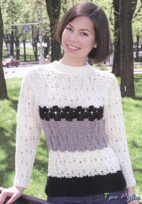 Пуловер в полоску вязание крючком