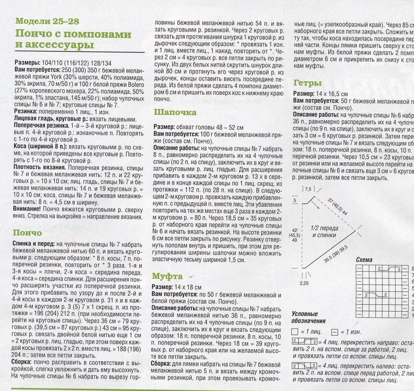 Воздушное пончо для девочки крючком - описание, схемы фото