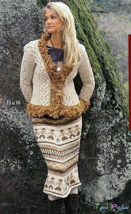 узоры в вязании юбки