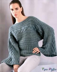 Пуловер, вязаный в поперечном направлении