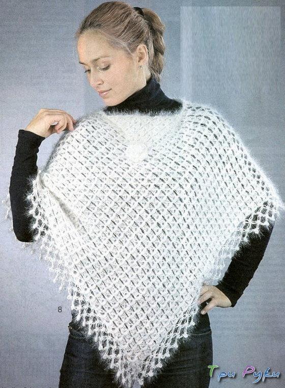 Белое пончо, техника вязания брумстик