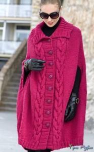 Объемное Пальто-пончо