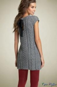 Платье-туника с шикарным узором в виде кос.