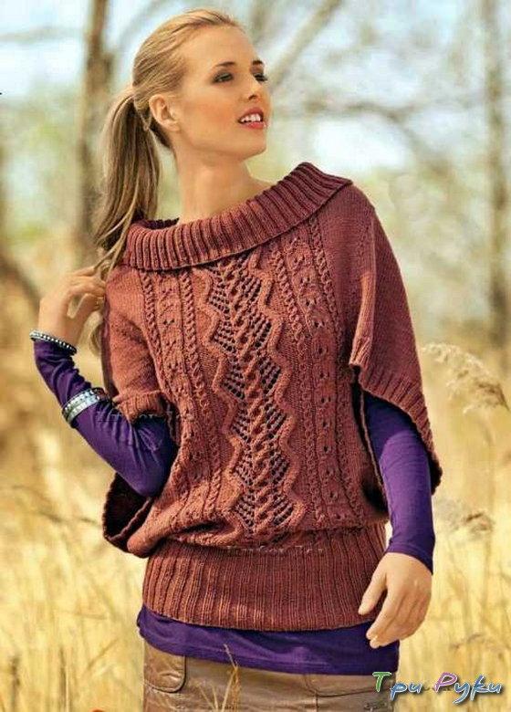 Очаровательный пуловер-пончо