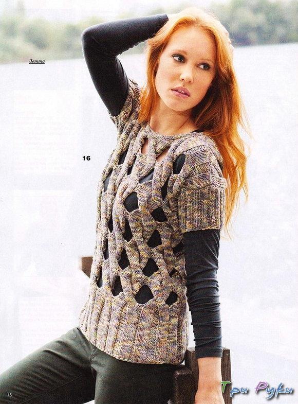 Пуловер с открытым узором из кос