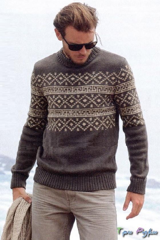 Жаккардовый мужской свитер