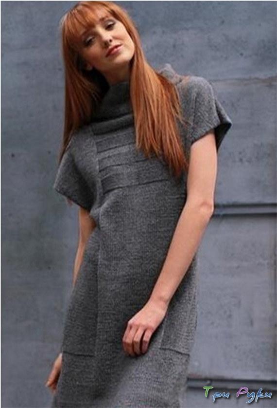 Серое платье спицами