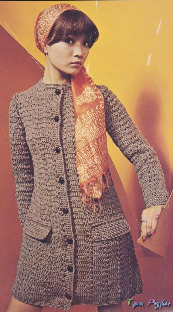 коричневое пальто крючком