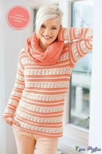 Комфортный яркий пуловер из хлопка