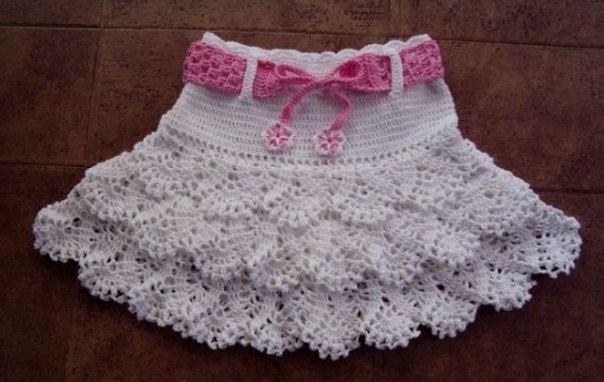 Ажурные крючком юбка детский