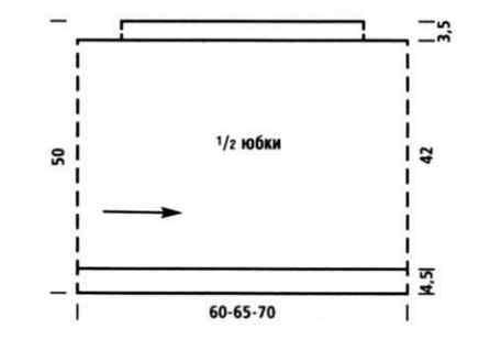 Схема простой вязаной юбки спицами