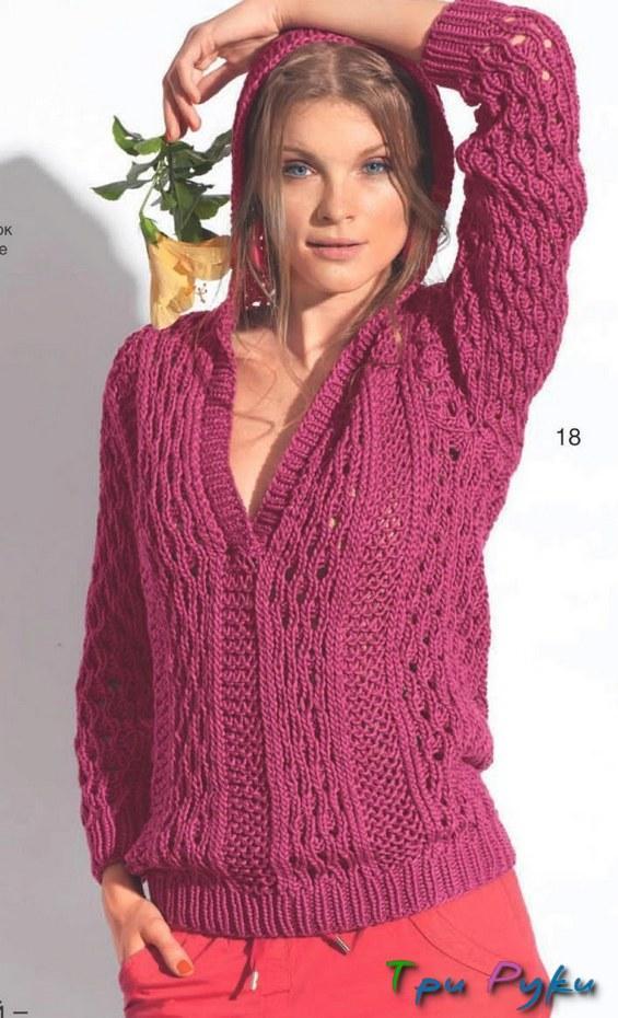 пуловер с капюшоном спицами фото (2)