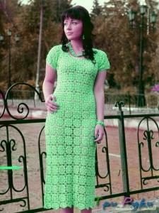 Зеленое платье крючком