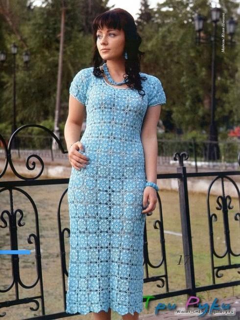Голубое платье крючком