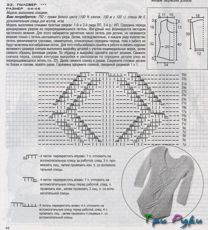 Свитера женские вязаные спицами 2017 со схемами реглан