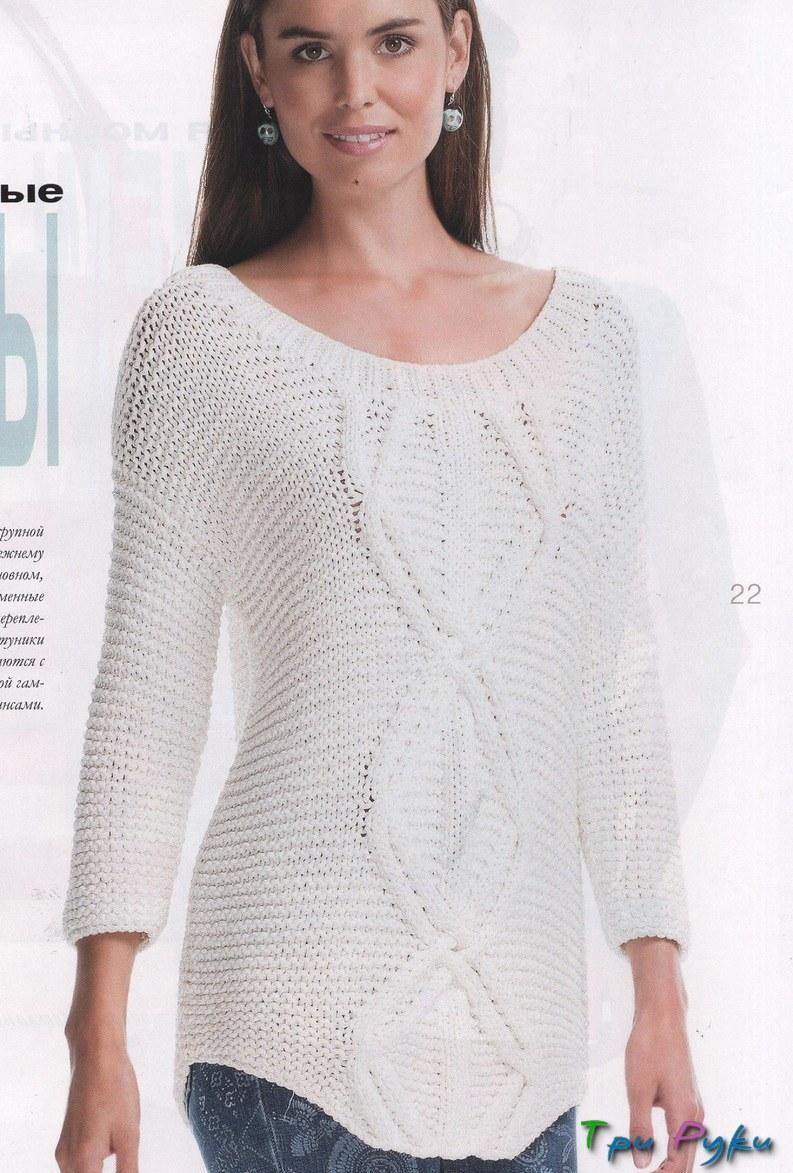 Бесформенный пуловер спицами фото (1)