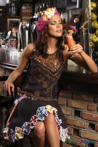вязаная юбка с цветами фото (3)
