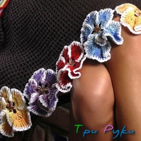 вязаная юбка с цветами фото (2)