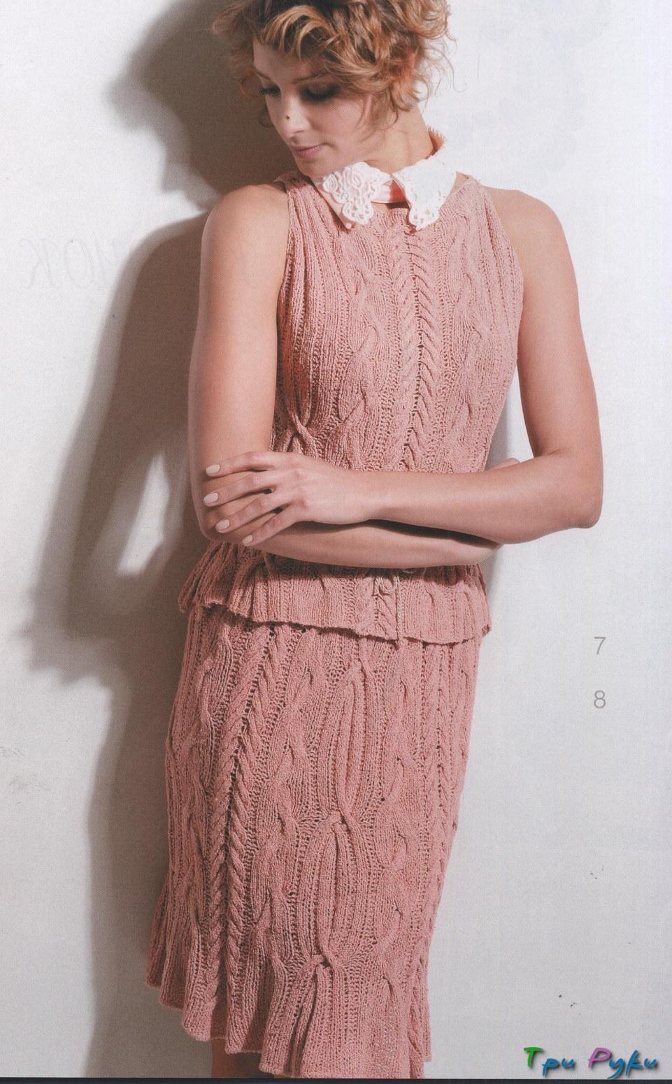вязаные спицами женские юбки схемы