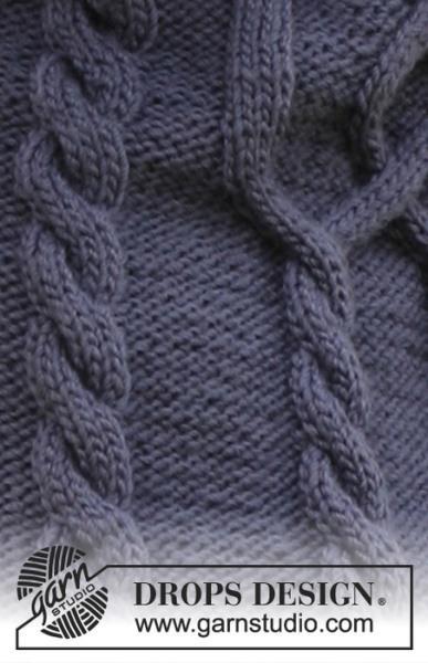 Жакет с арановыми узорами, связанный спицами от DROPS.