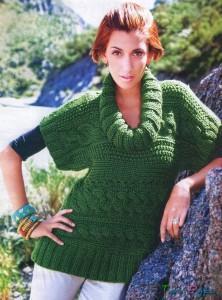 Зеленый пуловер вязаный спицами (2)