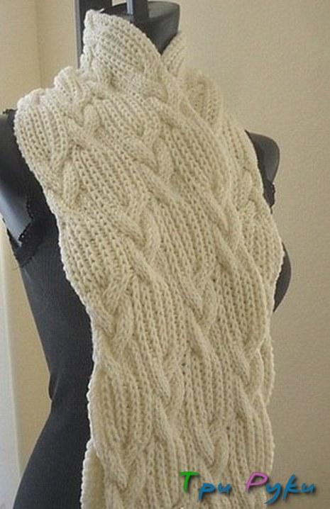шарф спицами схема. Широкий