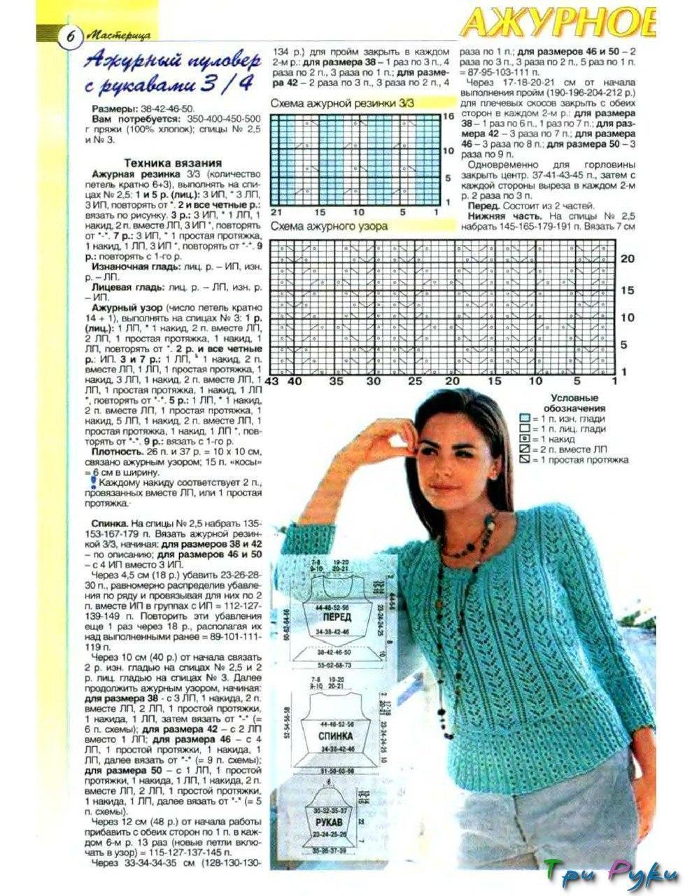 Вязание спицами свитер женский с описанием и схемой 510