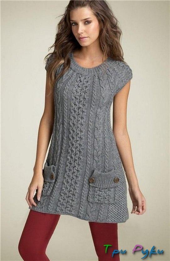 Трикотажное платье с жемчужным узором