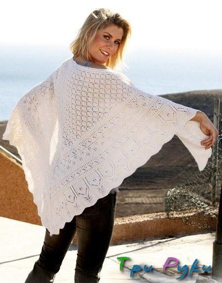 Белая шаль спицами (1)