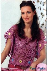 Пуловер с цветочками фото (1)