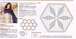 шаль с кружевными шестиугольникам крючком (1)