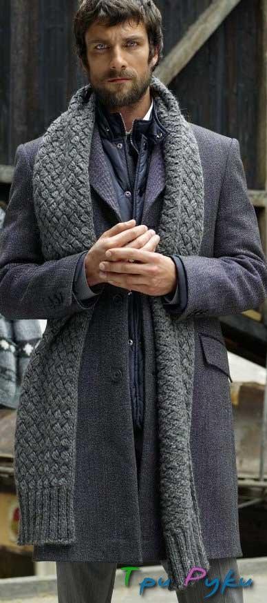 Мужской шарф серого цвета (1)