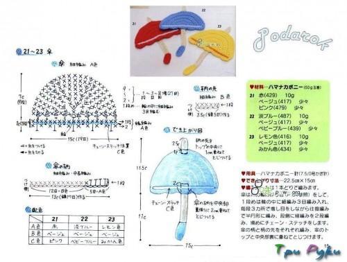 вязаная аппликация зонтика