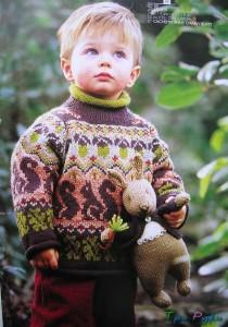 Пуловер для мальчика вязаный спицами