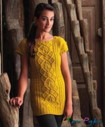 Желтое платье спицами (8)
