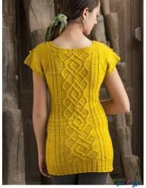 Желтое платье спицами (6)