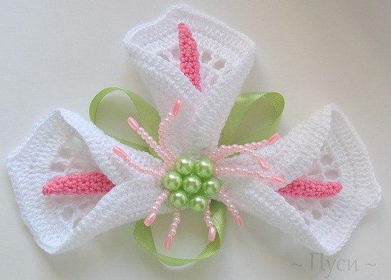 Белые цветы крючком (1)