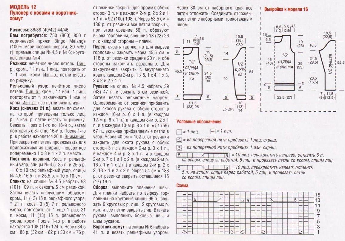 Воротник схема вязания спицами на кофте 118